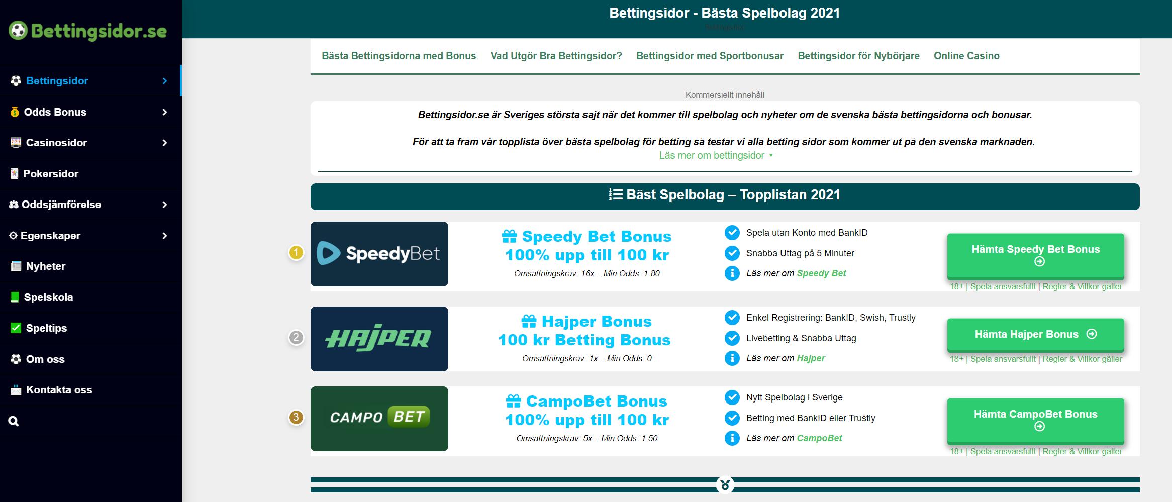 Bettingsidor best odds 62178